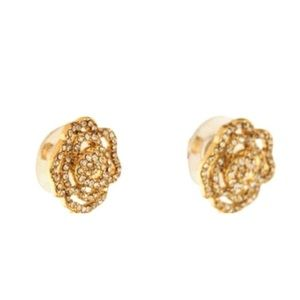 kate spade Jewelry - KATE SPADE • Crystal Rose Pavé Earrings • Gold